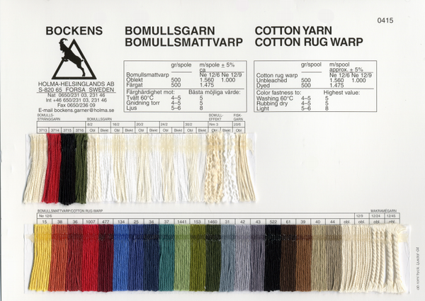 Cotton Warp Color Card | Color Cards