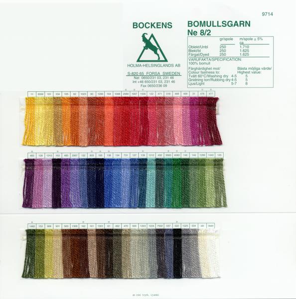 8/2 Cotton Color Card | Color Cards
